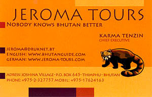 Jeroma Tours & Travels Thimphu Bhutan