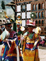 Masked dancers at religious festival