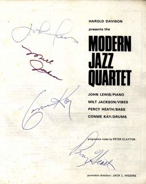 Autographs of the Modern Jazz Quartet