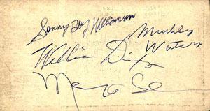 Autographs of Sonny Boy Williamson, Muddy Waters, Willie Dixon & Memphis Slim